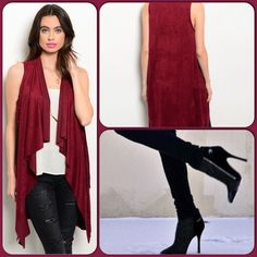 Burgundy Suede Vest This lovely long vest drapes in front. Lovely burgundy color. 92% Polyester, 8% Spandex. (This closet does not trade or use PayPal) True Light Jackets & Coats Vests