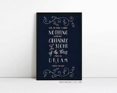 Van Gogh Print - For my part I know nothing Quote - Typography Poster - Stars