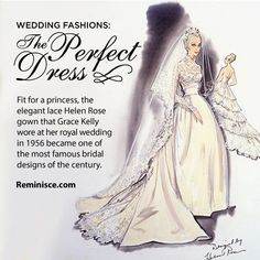 Fit for a princess, the elegant lace Helen Rose gown that Grace Kelly wore at her royal wedding in 1956 became one of the most famous bridal designs of the century. Royal Brides, Royal Weddings, Classic Weddings, Grace Kelly, Bridal Show, Bridal Style, Famous Wedding Dresses, Wedding Gowns, Helen Rose