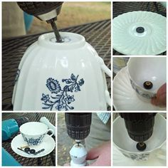Tea for the birds: DIY teacup bird feeder, You are able to appreciate break fast or various time periods using tea cups. Tea cups also have decorative features. When you go through the tea cup versions, you will dsicover this clearly. Bird House Feeder, Diy Bird Feeder, Teacup Bird Feeders, Teacup Crafts, Glass Garden Art, Garden Totems, Outdoor Crafts, Glass Birds, Garden Crafts