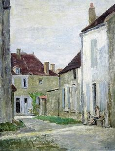 ✦   vanessa bell  -  'figures seated beside french town houses'  -   oil on canvas -  gorringes