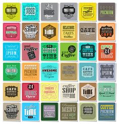 Retro Coffee  Labels set  @creativework247