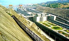 YANGTZE RIVER - CHINA - THREE GORGES DAM - View from high on the hill overlooking the dam area - these are the parallel locks for passage up and down stream.