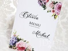Kwiatowe karty menu na wesele z peoniami, hortensjami i różami ze spisem dań serwowanych na przyjęciu, menu weselne FL-34-M. Place Cards, Menu, Place Card Holders, Menu Board Design