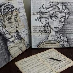 Trabalho em carvão da Artista plástica Ana Paula Campos Teixeira  Anna e Elsa da Frozen  Feito sobre partituras e páginas de livros.