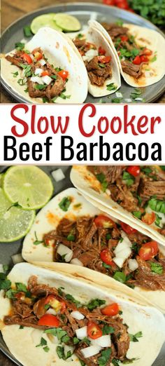 Slow Cooker Beef Barbacoa Crock Pot Beef Barbacoa Recipe is a tasty dinner idea with tender beef seasoned to perfection. Dinner will be a breeze with this easy slow cooker meal. Slow Cooker Barbacoa, Crock Pot Slow Cooker, Beef Barbacoa, Slow Cooker Recipes, Crockpot Recipes, Cooking Recipes, Cooking Icon, Cooking Chef, Cooking Games
