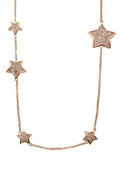 Pave rose gold star necklace