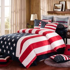 New American Style The Stars And The Stripes Velvet Velour Fleece Bedding Sets Duvet Cover Flat Sheet Or Mattress Cover Set No Comforter From Greatsellection, $86.86 | Dhgate.Com