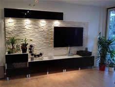 Wohnzimmer mit steinwand mit beleuchtung haus - Steinriemchen wohnzimmer ...