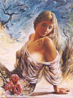 Sensual Arts by Arkady Ostritsky Sexy Painting, Woman Painting, Art Beauté, L'art Du Portrait, Pop Art Drawing, Fantasy Art Women, Arte Obscura, Indian Art Paintings, Sexy Drawings