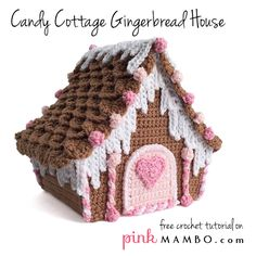 Candy Cottage Gingerbread House, free crochet pattern and tutorial on pinkmambo.com