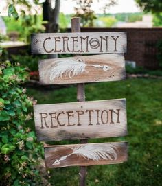 old vintage wedding sign with feather details
