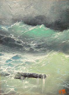 Beauty of the Sea  ACEO  original oil by vladimirmesheryakov, $69.99