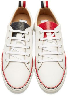 Thom Browne White Leather Low-Top Sneakers