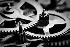 antique machinery: Grunge gear, cog wheels black and white background. Concept of industrial, science, clockwork, technology.