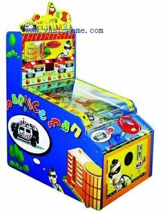Policeman Action Redemption Game Machine Ticket Game Machine Features: Coin(s),press the start button then use the steering wheel to control the car and catch the thieves on the road to get scores. Video Game Machines, Pinball, Website, Games, Kids, Young Children, Boys, Children, Toys