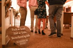 """""""Pick a seat, not a side"""" ceremony sign inside Clark Gardens' Chapel. Clark Gardens, Pick A Seat, Ceremony Signs, Photo Credit, Photography, Wedding, Valentines Day Weddings, Photograph, Fotografie"""