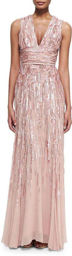 Elie Saab Embellished Sleeveless V-Neck Gown