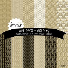 12 x  Art Deco Great Gatsby 1920s 1930s Gold No.2 Patterned Digital Paper Clipart  with Instant Download. MPS0027