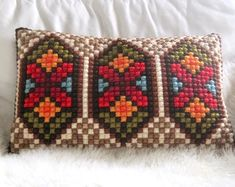Colorful double cross stitched Scandinavian pillow - vintage wonderland - Doce Vika Vintage selected Scandinavian vintage by DoceVikaVintage