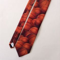 Ralph Marlin Just Balls Basketballs Mens Neck Tie Orange 1995