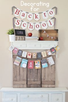 Back to School Decorating doesn't have to be expensive or difficult. You can find many items in your home + create some simple banners. Back To School Party, Back To School Crafts, School Parties, First Day Of School, Classroom Projects, Diy Craft Projects, School Projects, Diy Crafts, School Ideas