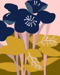 Whimsical art prints by Ophelia Pang Art And Illustration, Illustrations, Surface Pattern Design, Pattern Art, Block Painting, Gouache Painting, Botanical Art, Flower Art, Modern Art