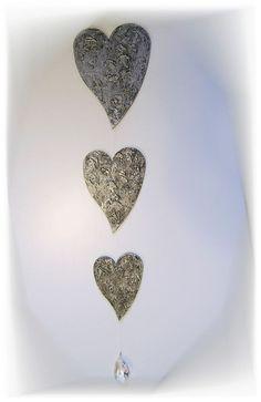 3er Set Design Herzen Silber Acrylmalerei Fensterdeko Wohnaccessoires + Kristall
