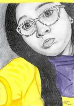 Retrato a lápiz y acuarelas por @EvangeCaceres