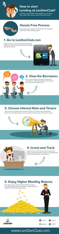 How to start lending at LenDenClub Peer To Peer Lending, Online Loans, Interest Rates, The Borrowers, Infographic, Investing, India, Money, Infographics