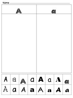 ABC Alphabet Identification with uppercase and lowercase with fonts (fine motor cut & paste!)
