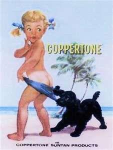 Old Coppertone sun tan lotion advertisement photo