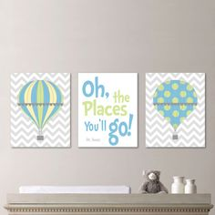 Hot Air Balloon Nursery - Hot Air Balloon Decor - Hot Air Balloon Print - Baby Boy Nursery Art Print - Boy Bedroom Art - Blue Green - NS-538...