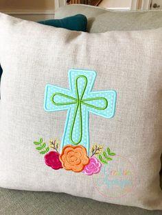 Cross Flowers Applique - 4 Sizes! Creative Appliques