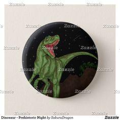 Dinosaur - Prehistoric Night Pinback Button #dinosaurs #jurassic #trex #allosaurus #animals