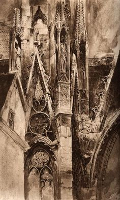 Entrance to the South Transept, Rouen Cathedral by John Ruskin