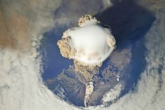 Spectacular View Of Russia`S Sarychev Peak Volcano Erupting By International Space Station
