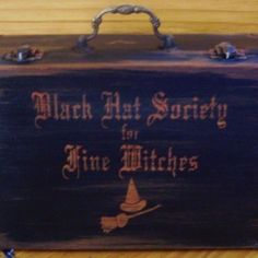 Witchcraft Primitive Witches Black Hat Society Purse Box Cats Wiccan Goth Gothic halloween Costume props witch | SleepyHollowprims $31.50