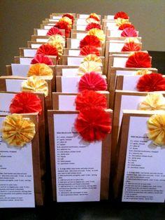 DIY Bridal Shower Recipe favors :  wedding bridal shower favor orange pink red yellow flowers diy Favors