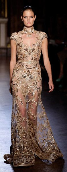 Would be prettier if the lower skirt wasn't see-through.  Zuhair Murad Haute Couture Fall 2011