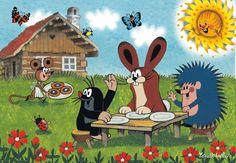 (2014-07) Muldvarpen spiser sammen med haren og pinsvinet, musen kommer med kager