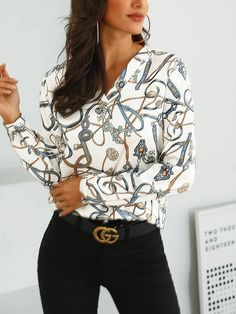 Style:Fashion Pattern Type:Print Polyester Neckline:V-Neck Sleeve Style:Long Sleeve Decoration:Scarf Print Length:Regular Occasion:Casual Package Shirt Note: There might be… Trendy Fashion, Fashion Outfits, Womens Fashion, Fashion Tips, Punk Fashion, Wild Fashion, Curvy Fashion, Asian Fashion, Fashion Shoes
