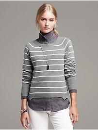 Striped Angled-Hem Pullover