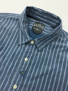 Super Dry Blue Striped Men's XXXL Button Front Shirt Removable Collar   eBay