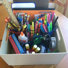 Homework supplies organized - My House and Home