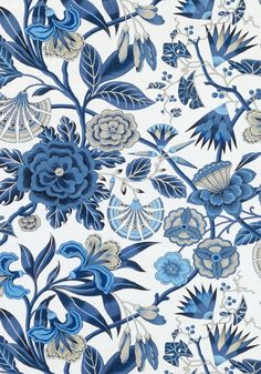 AF9621 CLEO Printed Fabrics Blue and White from the Anna French Savoy collection