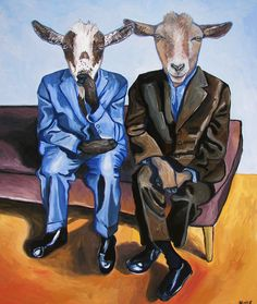 A take on a favorite artist (Alice Neel in this case). I paint goats, so...