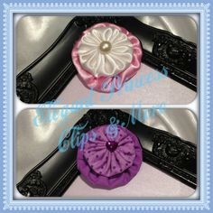 Small White Satin Round Yoyo on a Slightly Larger Pink Round Yoyo Hair Clip with Pearl Embellishment and Purple Polka Dot Round Yoyo on a Slightly Larger Purple Round Yoyo Hair Clip with Purple Gem Embellishment | Elegant Princess Clips N More