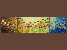 "48"" Original Modern Abstract Heavy Texture Impasto Acrylic Painting ""Flowers Field"" by QIQIGALLERY. $225.00, via Etsy."