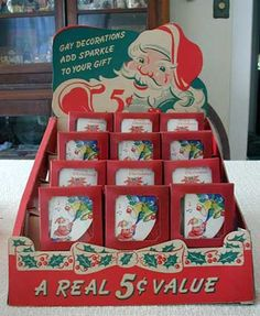 Vintage 1940's-50's Dennison Cardboard Counter Display with Tags and Folders.
